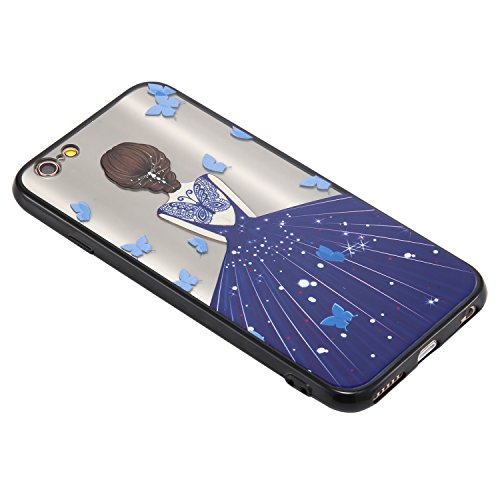 Coque iPhone 6/6S, Cozy Hut TPU Matière avec [Fille de mariage] [Ultra Mince] [Ultra Léger] Anti-Rayures Anti-dérapante iPhone 6/6S Case Coque Housse Bumper Cover pour iPhone 6/6S-4,7 pouces - robe de robe de papillon