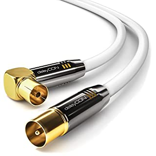 deleyCON 10m TV Antennenkabel HDTV Full HD - 1x gewinkelt - Koaxialkabel - TV-Stecker (gerade) zu TV-Buchse (90° Grad) - Metallstecker - Weiß