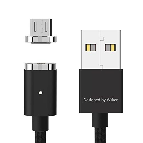 Cavo Micro USB Magnetico, Cavo Caricabatterie Android WSKEN Mini 2 Cavo dati di sincronizzazione veloce per Samsung Galaxy S9, HTC, Sony, LG, Nexus, Kindle, Tablet e Altro-3ft Nero