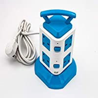 SOPaNY Multi function 2 USB 3m long Vertical Power Socket Plug extension charge blue