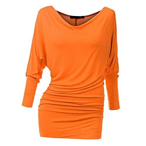 Yying Donna Primavera Camicetta Elegante Casuale Camicie Moda Manica Lunga Colletto a V Slim Fit Shirts Blouse Tops per Primavera e Autunno arancia