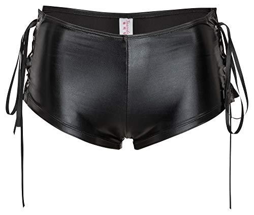 R-Dessous sexy Damen Wetlook Hot Pants Höschen Panty Hipster Shorts Hotpants Lack Clubwear Dessous schwarz Groesse: XL
