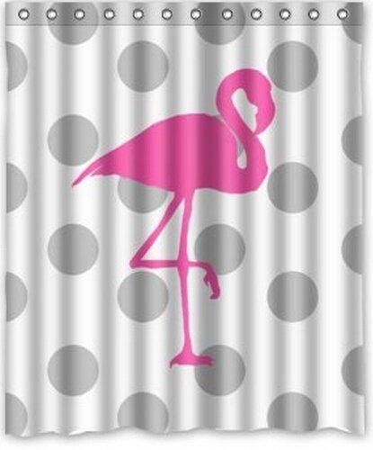 Grau Weiß Polk Dots Pink Flamingo Duschvorhang Polyester Wasserdicht 152,4cm (W) X 182,9cm (H) (Flamingo Dot)