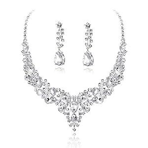 Adramata Kristall Brautschmuck Set für Frauen Strass Halskette Ohrringe Armband Hochzeit Brautjungfer