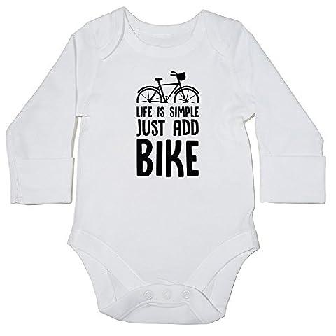 hippowarehouse Life ist einfach nur hinzufügen Bike Baby Body (Long Sleeve) Jungen Mädchen Gr. 18-24 Monate, (Bmx Racing Tire)