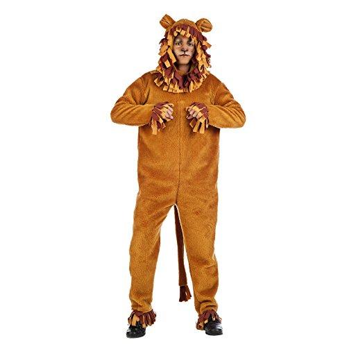 Löwe Tier Kostüm Herren Overall aus Zauberer von Oz Plüsch braun - XL (Löwe Aus Der Zauberer Von Oz Kostüme)