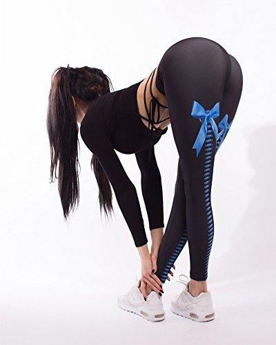 Femme Sport Yoga Pantalons Gym Tenues Bow numérique impression Pantalon de yoga stretch taille haute Pantalon de fitness petit pantalon pieds Bleu