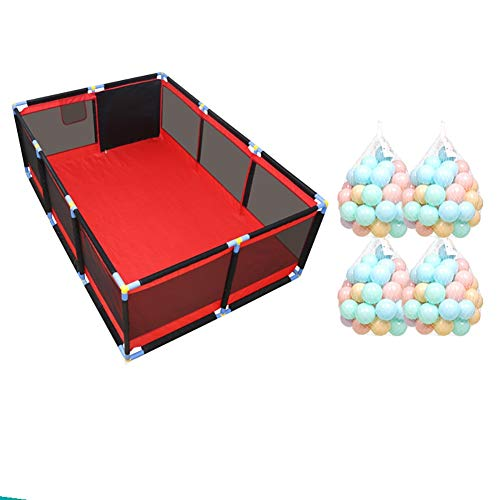 Red Playpen - Large Twins Security Fence, Portable Baby Playard for Learn to Walk (Size : Playpen+mat+100ball)  BSNOWF