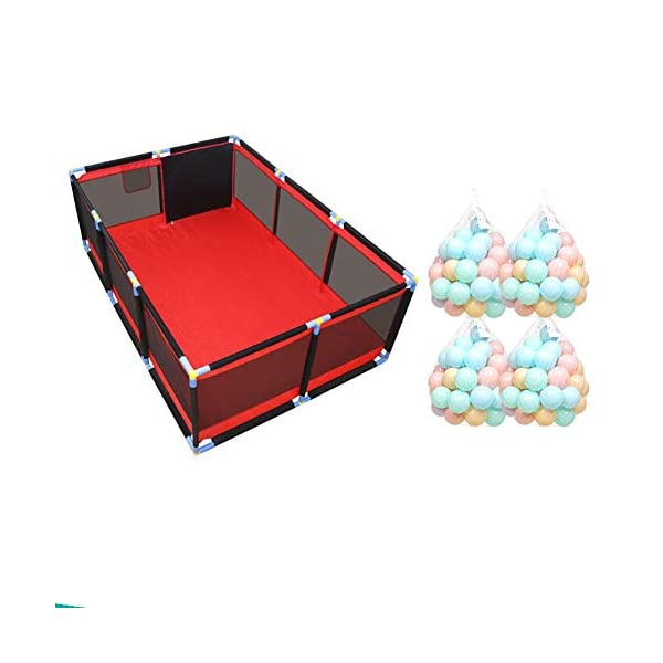 Red Playpen - Large Twins Security Fence, Portable Baby Playard for Learn to Walk (Size : Playpen+mat+100ball) Playpens  1