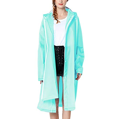 IZHH Mode Damen Regenjacke, Kapuze Transparente Eva Mantel Feste Taschen Winddicht Freien Outwear Wasserdichte Splice Windjacke Regen Zubehör für Camping und Reisen(Hellblau,Large)