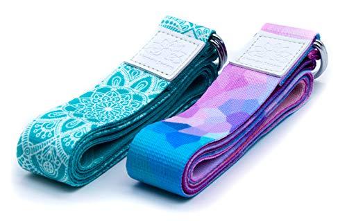 Netrox Yoga Gurt Gürtel Fitness Yogagurt Yogagürtel Strap Band Bio Hilfe Hilfsmittel Bänder Strech Gürtel Pilates Gymnastik Belt Lotuscrafts (türkis)