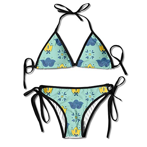Fashion Women Flowers Mexican Patterns Printing Sexy Two-Piece Bikini Set Beach Bathing Suit Polka Dot Ruffled Top
