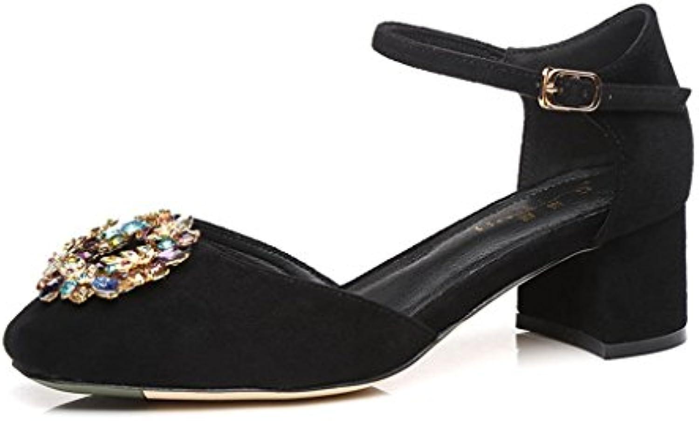 7f8ea4e875a0 Sandals Boys  Shoes Summer Square head Women s shoes shoes shoes Rhinestone  Baotou fashion mid heel (Color   Black