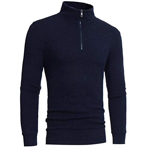 VICGREY Maglione da Uomo Maglia Manica Lunga Dolcevita Collo Alto Maglia  Casuale Pullover Maglieria Outwear Casual 622366ee8090