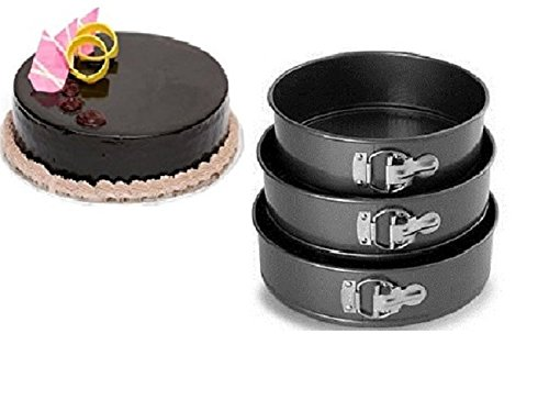 LUKZER-Quick-Release-Black-Aluminium-Made-Non-Stick-Lift-and-Serve-Microwave-Springform-Cake-Baking-PansCake-Making-TinsCake-Moulds-with-Removable-Bottom-3-PCSBlack