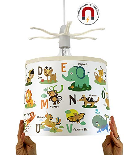 Ereki - Pantalla para lámpara de techo, ABS resistente al calor y al fuego, multicolor, blanco, verde, naranja, amarillo, rojo, marrón