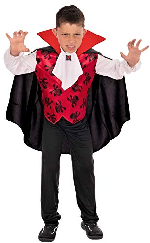 Magicoo Halloween GRAF Vampir Kostüm Kinder Jungen Gr. von 92 bis 140 - Vampirkostüm Kind rot weiß schwarz (Süße Vampir Kostüm Kinder)