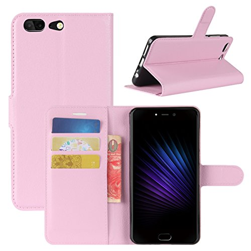 HualuBro Leagoo T5 Hülle, [All Around Schutz] Premium PU Leder Leather Wallet Handy Tasche Schutzhülle Case Flip Cover mit Karten Slot für Leagoo T5 Smartphone (Pink)