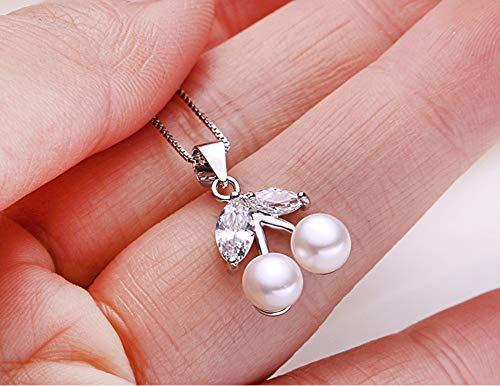 MTWTM Perlmutt Anhänger Silber Mode Damen Schmuck Einfachheit Eleganz Charme Kirsche Persönlichkeit Retro Kreativität Freshwater Pearl Silver Style, Weiß -