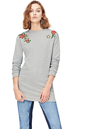 FIND Sweatshirt Damen mit Oversized-Schnitt und Blumenstickerei Grau (Grey Mix), 40 (Herstellergröße: Large)