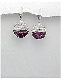 BrendaStyle Bijoux Boucles d'oreilles Pour Femme En Argent 925/1000 Rhodie Avec Zirconium