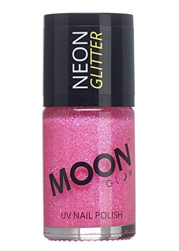 Moon Glow - Glitzernder Neon UV Nagellack 14ml Rosa - ein spektakulär glühender Effekt bei UV- und Schwarzlicht!
