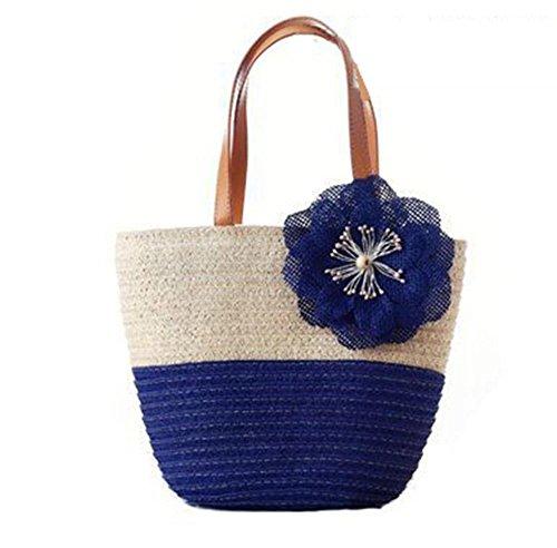 Borse a tracolla della spalla del sacchetto della borsa del sacchetto di colore solido di colore tessuto esterno tessuto di lavoro a maglia del sacchetto di viaggio di piacere di spiaggia di Tote , bl blue