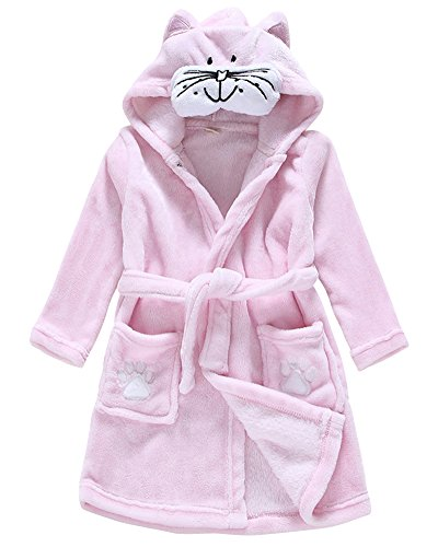 Peignoir à Capuche Unisexe Enfant Peignoir de Bain Cartoon Animal Motif Robe de Chambre Chat 130