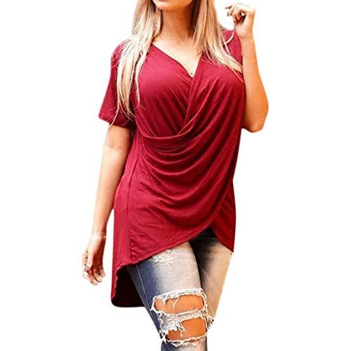 Lonshell Frauen V-Ausschnitt Tunika Tops/Vorne Kreuz Design, Einfarbig Kurzarm Shirt Sommer Strandshirt Asymmetrisch Oberteile T-Shirt Bluse