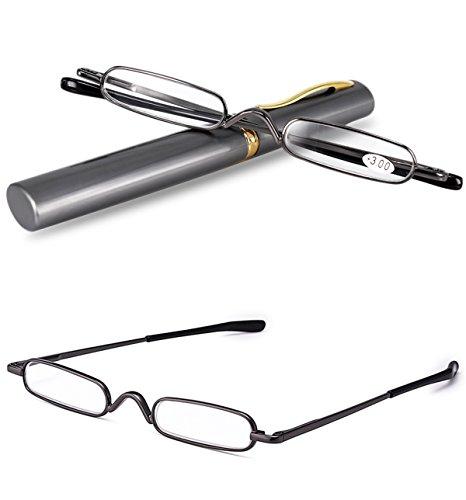 VEVESMUNDO® Lesebrille Damen Herren Federscharnier Metall Schmal Klein Mini Leicht Lesehilfe Sehhilfe Klare Arbeit Brillen Stärke mit Etui (Dunkelgrau, 1.5)