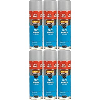 Hycote XUK03015 Grey Primer 500ml Aerosol Spray Paint x 6