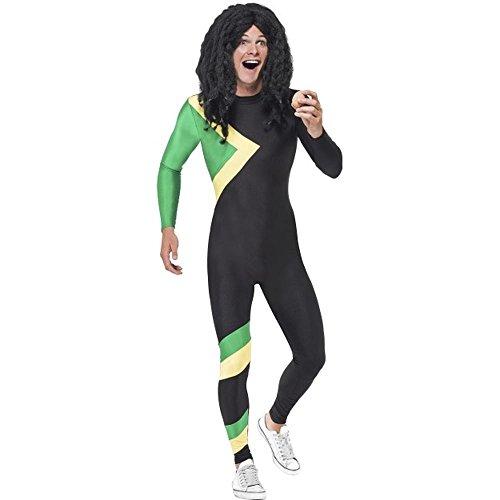 Smiffys Herren Kostüm Jamaika Bobfahrer Jumpsuit Karneval Fasching Größe ()