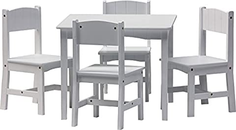 IB-Style - Children's seating area ENZO white | 5 pieces | 4 chairs + 1 table | children table and chairs set nursery furniture kids