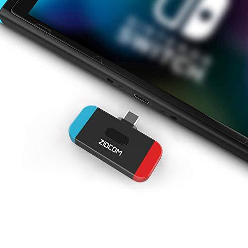 ZIOCOM Bluetooth Adapter Audio Transmitter für Nintendo Switch, USB C-Anschluss APTX Niedrige Latenz, Unterstützung für In-Game-Voice und zwei Geräte, kompatibel mit AirPods PS4 Bose und Kopfhörern