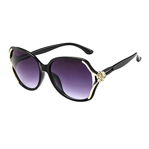 Lazzboy Herren Damen Rose Big Frame Retro Vintage Sonnenbrillen Brillen Sonnenbrille Polarisiert Augenschutz Brille, Schwarz Für Fahren, Angeln, Reisen, Outdoor(E)