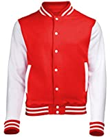 VARSITY COLLEGE JACKET (Fire Red / White) NEW PREMIUM Unisex American Style Letterman Blank Baseball Custom Top Mens Womens Ladies Gift Present Quality AWD - By 123t