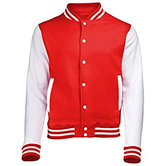 VARSITY COLLEGE JACKET (Fire Red / White) NEW PREMIUM Unisex American Style Letterman Blank Baseball Custom Top Mens Womens Ladies Gift Present Quality AWD - By 123t, Fire Red / White, X-Small