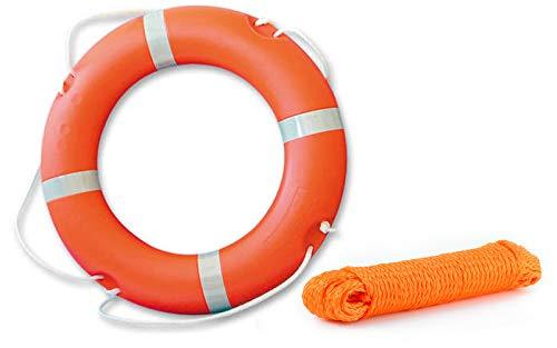 wellenshop Rettungsring ∅70 cm mit Griffleine + Wurfleine 30 m Ø 8mm Kunststoff Orange Schwimmfähig Rettungsreifen Rettungsleine Wurfseil Rettungsseil Rettungsmittel