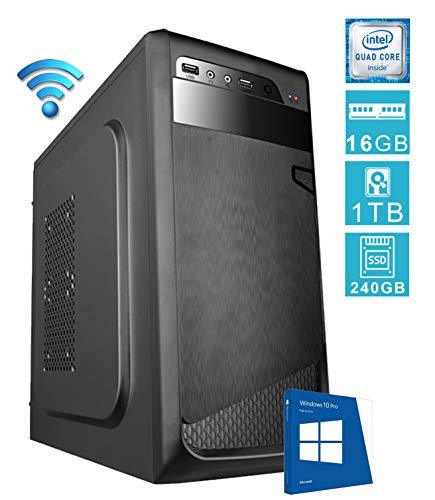 PC DESKTOP COMPUTER FISSOSSD E LICENZA WINDOWS 10 PROASSEMBLATO COMPLETO Intel QUAD-CORE fino a 2.3 GHZRAM 16GB SSD + HD 1TBWIFIDILC GREEN HIGH PLUS
