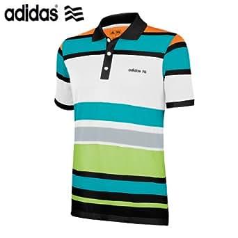 2013 Adidas FP Bold Engineered Stripe Funky Golf Polo Shirt Black/FP Warning/Aqua Large