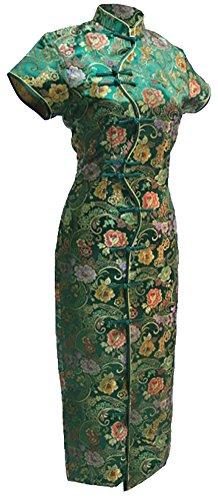 7Fairy Damen Grün Jahrgang Chinesisch Kleid Cheongsam Lang Zehn Tasten Größe De 38 (Cheongsam Satin Kleid Chinesische)