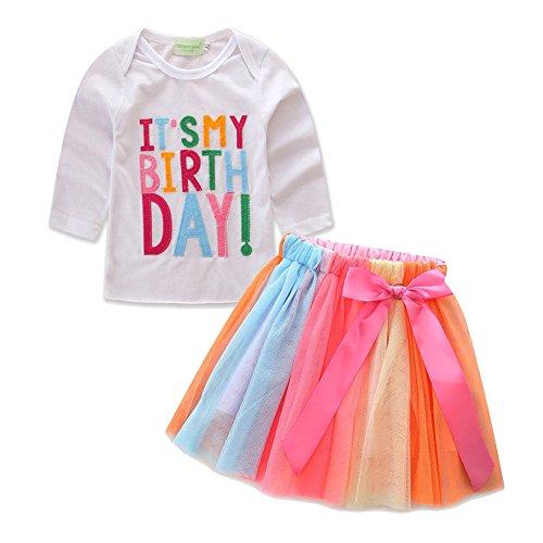Zooarts 1-7Jahre Baby Kinder Mädchen Lange Ärmel Jumper Tops Pullover + Tutu Kleid Rock Winter Kleidung Set-IT 'S My Birthday Print, Baumwollmischung, Multi, 130 (6-7 Years)