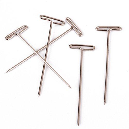 50 pcs 38mm Métal Long T Pin pour Perruques Modélisation Couture Argent Outil