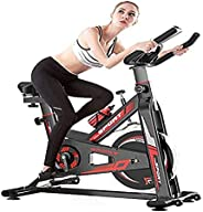 COOLBABY Black Spinning Bike Fitness Bike Fixed Comfortable Seat Cushion Bicycle with Mobile Phone Bracket, Ad