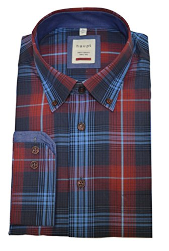 Haupt Herren Modern Fit Baumwoll-Hemd (Large, Rot)