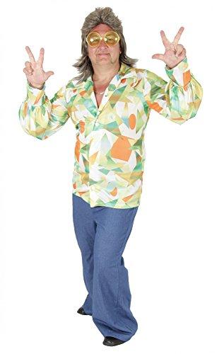 Foxxeo 40135 | 70er Jahre Herrenkostüm Retrolook Kostüm Retro für Herren Disco Dancer Patchwork , Größe:XL