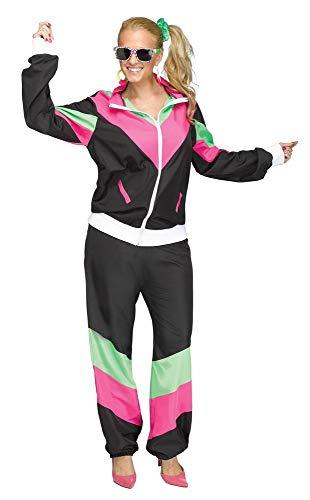 shoperama Trainingsanzug 80er Jahre Damen Kostüm Schwarz/Pink/Grün Trash Bad Taste Trainer grell Neon Achtziger Jahre Retro, Größe:XL