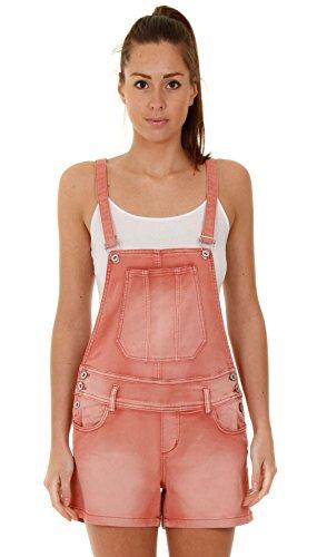 Damen Latzshorts - Rot kurze Latzhose Overalls für damen WOMSH06-UK 12