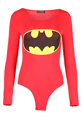 Damen Promi Inspiriert Superman Batman Stretch Trikot Slim Fit Langärmlig Damen Rundhals Bodysuit Top - Batman Rot, 36/38