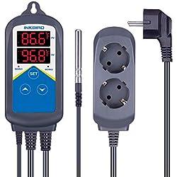 Inkbird 2 Relais 100-240V Thermostat Chauffage Digital pour Serre Joints, Terrarium Plante,Pompe de Brassage,Incubateur Reptile,Régulateur de Température Jour et Nuit + Sonde NTC de 2m